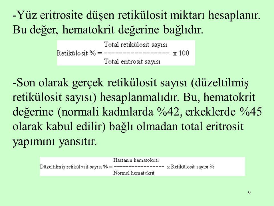9 -Yüz eritrosite düşen retikülosit miktarı hesaplanır. Bu değer, hematokrit değerine bağlıdır. -Son olarak gerçek retikülosit sayısı (düzeltilmiş ret