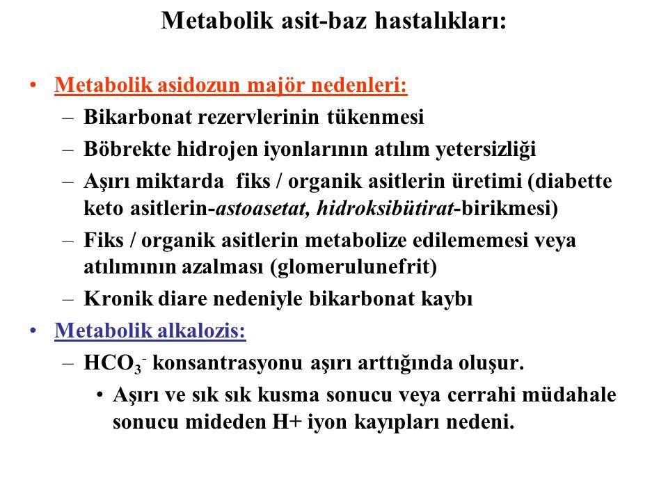 Metabolik asidozun majör nedenleri: –Bikarbonat rezervlerinin tükenmesi –Böbrekte hidrojen iyonlarının atılım yetersizliği –Aşırı miktarda fiks / organik asitlerin üretimi (diabette keto asitlerin-astoasetat, hidroksibütirat-birikmesi) –Fiks / organik asitlerin metabolize edilememesi veya atılımının azalması (glomerulunefrit) –Kronik diare nedeniyle bikarbonat kaybı Metabolik alkalozis: –HCO 3 - konsantrasyonu aşırı arttığında oluşur.