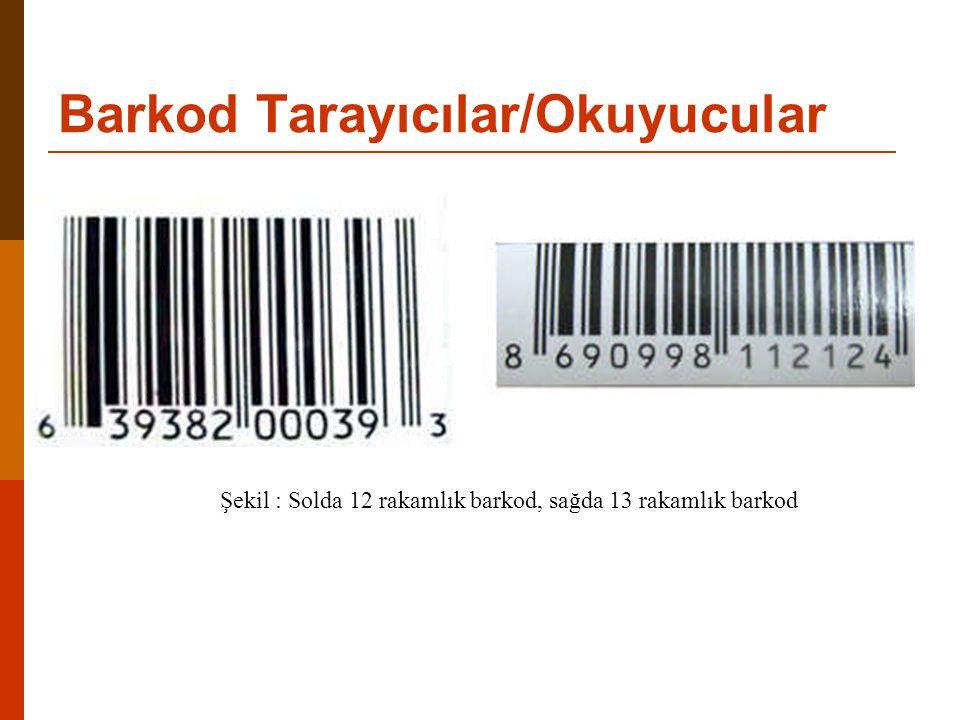 Barkod Tarayıcılar/Okuyucular Şekil : Solda 12 rakamlık barkod, sağda 13 rakamlık barkod