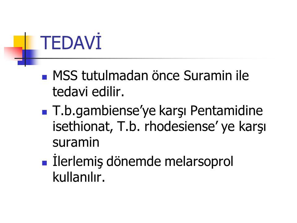 TEDAVİ MSS tutulmadan önce Suramin ile tedavi edilir. T.b.gambiense'ye karşı Pentamidine isethionat, T.b. rhodesiense' ye karşı suramin İlerlemiş döne