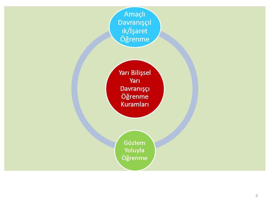 Yarı Bilişsel Yarı Davranışçı Öğrenme Kuramları Amaçlı Davranışçıl ık/İşaret Öğrenme Gözlem Yoluyla Öğrenme 4