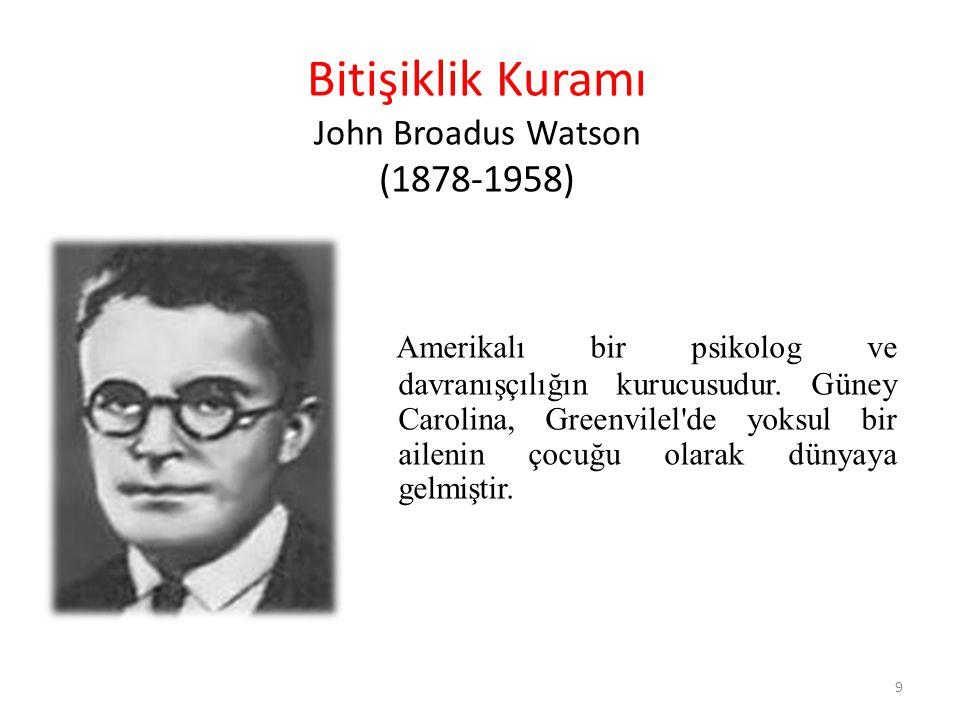 Bitişiklik Kuramı John Broadus Watson (1878-1958) Amerikalı bir psikolog ve davranışçılığın kurucusudur. Güney Carolina, Greenvilel'de yoksul bir aile