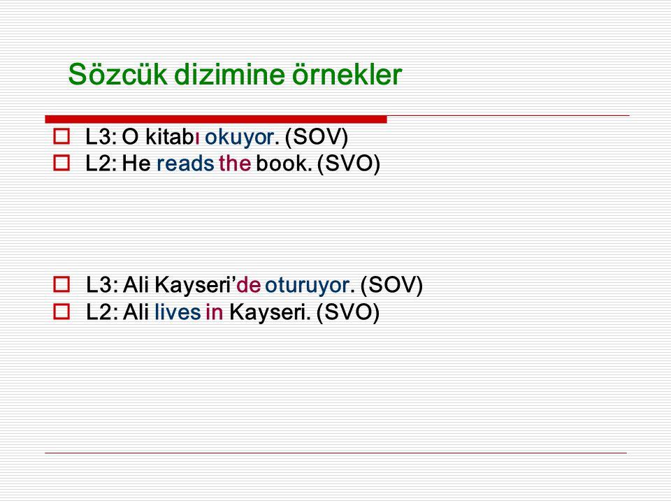  L3: Ali Kayseri'de oturuyor. (SOV)  L2: Ali lives in Kayseri. (SVO) Sözcük dizimine örnekler  L3: O kitabı okuyor. (SOV)  L2: He reads the book.