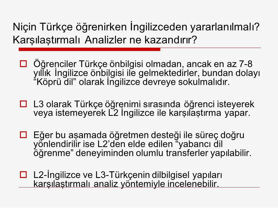 L2-İngilizce ve L3-Türkçe ile benzerlik göstermediğinden,  Türkçe ile farklı olan yönlerine (SOV) karşılaştırmalı örneklerle dikkat çekmeliler.