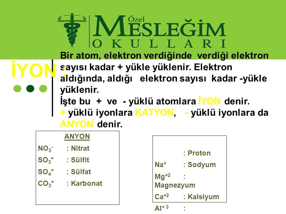 Bir atom, elektron verdiğinde verdiği elektron sayısı kadar + yükle yüklenir. Elektron aldığında, aldığı elektron sayısı kadar -yükle yüklenir. İşte b