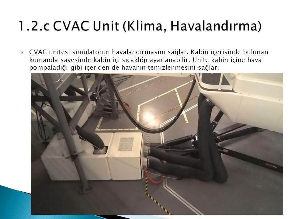  CVAC ünitesi simülatörün havalandırmasını sağlar.