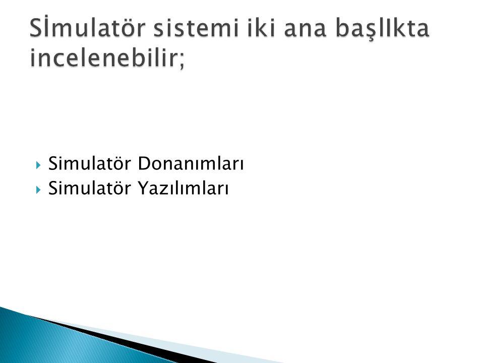  Simulatör Donanımları  Simulatör Yazılımları
