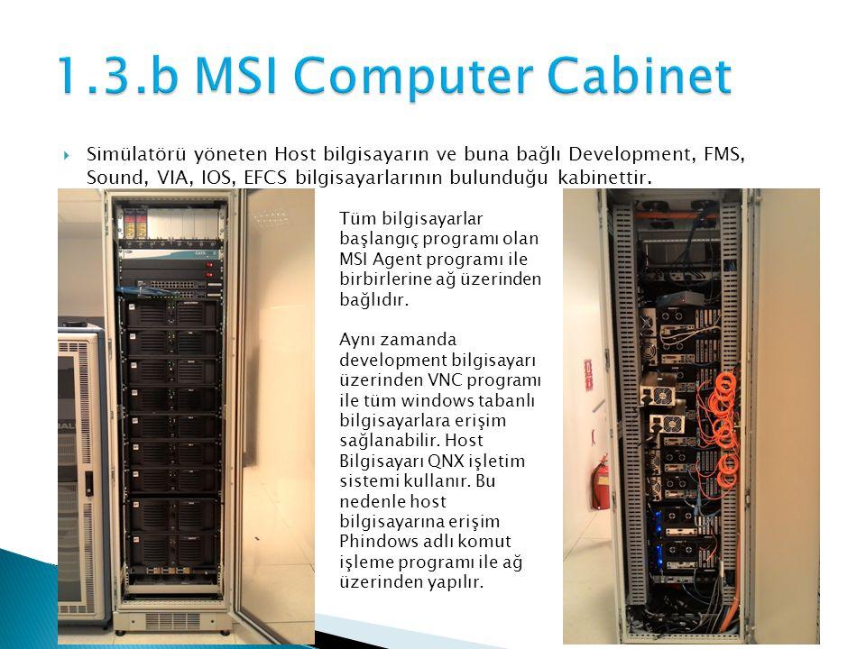  Simülatörü yöneten Host bilgisayarın ve buna bağlı Development, FMS, Sound, VIA, IOS, EFCS bilgisayarlarının bulunduğu kabinettir.