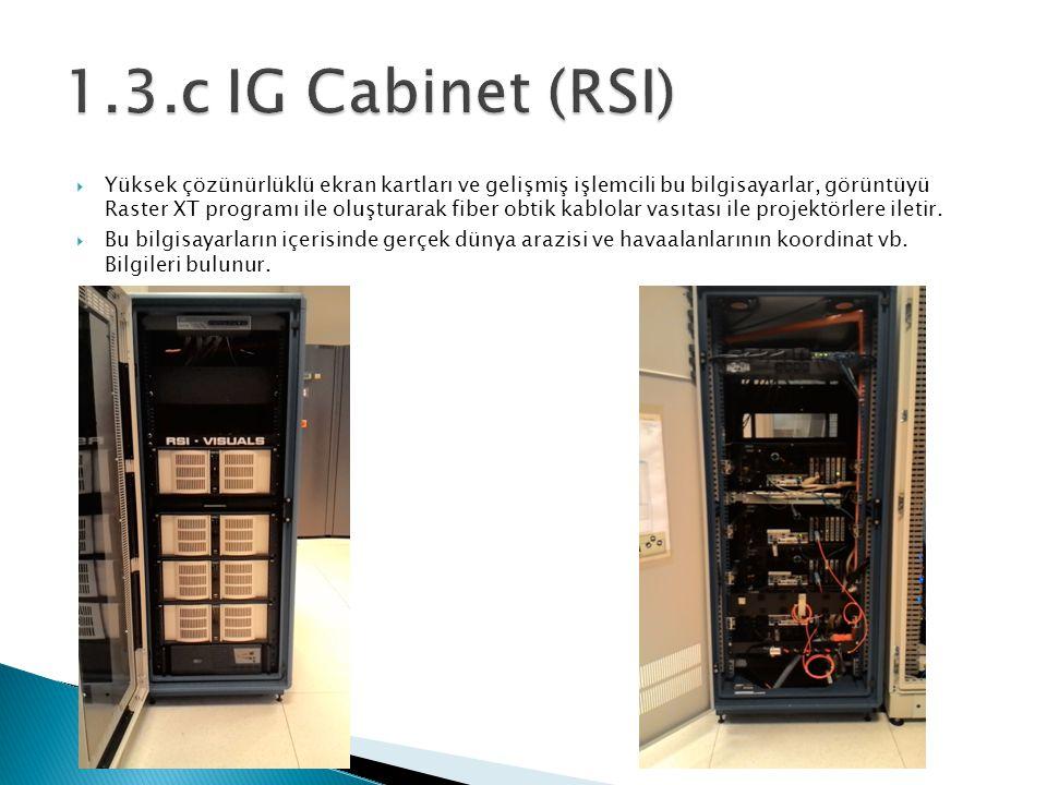  Yüksek çözünürlüklü ekran kartları ve gelişmiş işlemcili bu bilgisayarlar, görüntüyü Raster XT programı ile oluşturarak fiber obtik kablolar vasıtası ile projektörlere iletir.