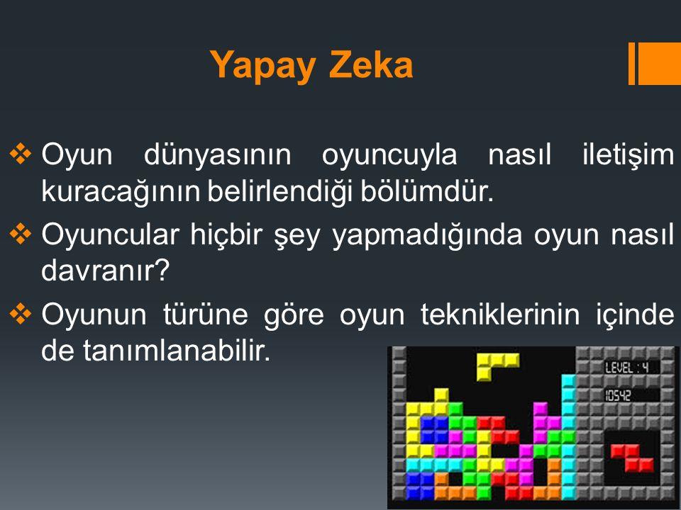 Yapay Zeka  Oyun dünyasının oyuncuyla nasıl iletişim kuracağının belirlendiği bölümdür.  Oyuncular hiçbir şey yapmadığında oyun nasıl davranır?  Oy