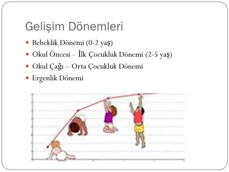 Gelişim Dönemleri Bebeklik Dönemi (0-2 ya ş ) Okul Öncesi – İ lk Çocukluk Dönemi (2-5 ya ş ) Okul Ça ğ ı – Orta Çocukluk Dönemi Ergenlik Dönemi