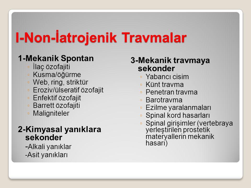 I-Non-İatrojenik Travmalar 1-Mekanik Spontan ◦ İlaç özofajiti ◦ Kusma/öğürme ◦ Web, ring, striktür ◦ Eroziv/ülseratif özofajit ◦ Enfektif özofajit ◦ B