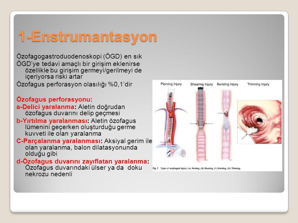 1-Enstrumantasyon Özofagogastroduodenoskopi (ÖGD) en sık ÖGD'ye tedavi amaçlı bir girişim eklenirse özellikle bu girişim germeyi/gerilmeyi de içeriyor