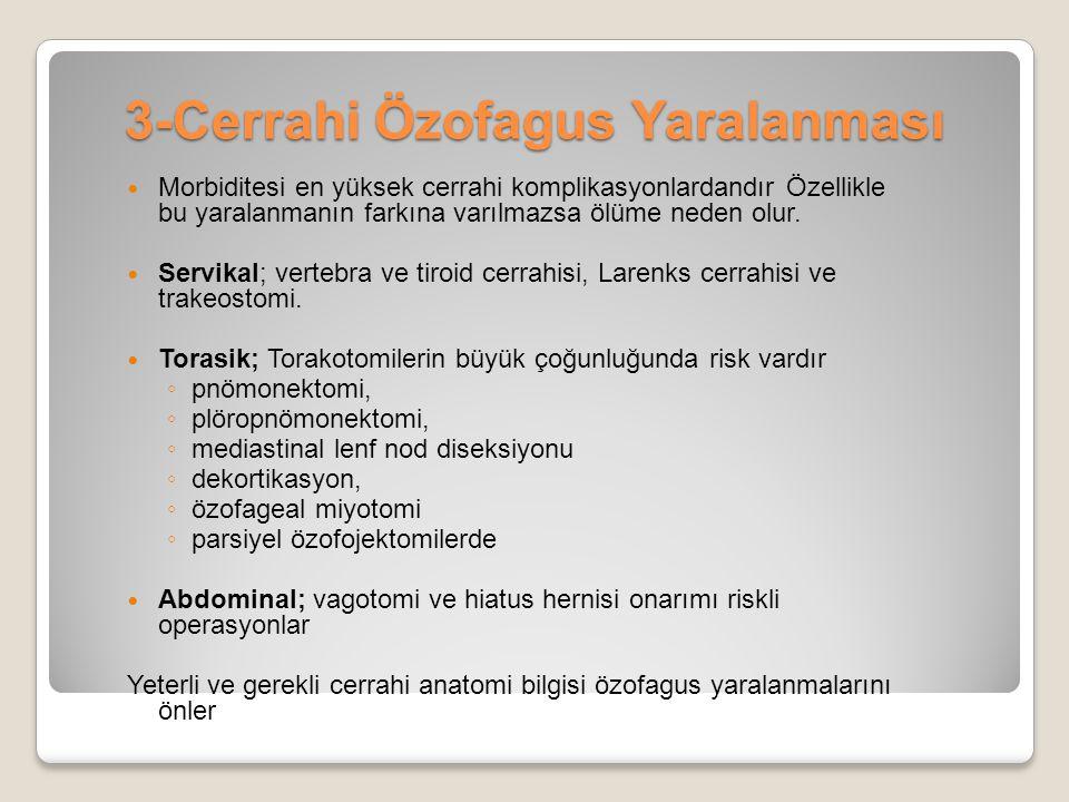 3-Cerrahi Özofagus Yaralanması Morbiditesi en yüksek cerrahi komplikasyonlardandır Özellikle bu yaralanmanın farkına varılmazsa ölüme neden olur. Serv