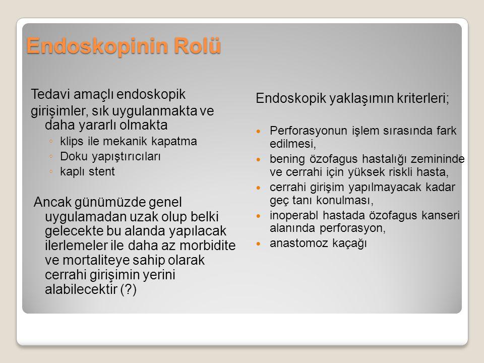 Endoskopinin Rolü Tedavi amaçlı endoskopik girişimler, sık uygulanmakta ve daha yararlı olmakta ◦ klips ile mekanik kapatma ◦ Doku yapıştırıcıları ◦ k
