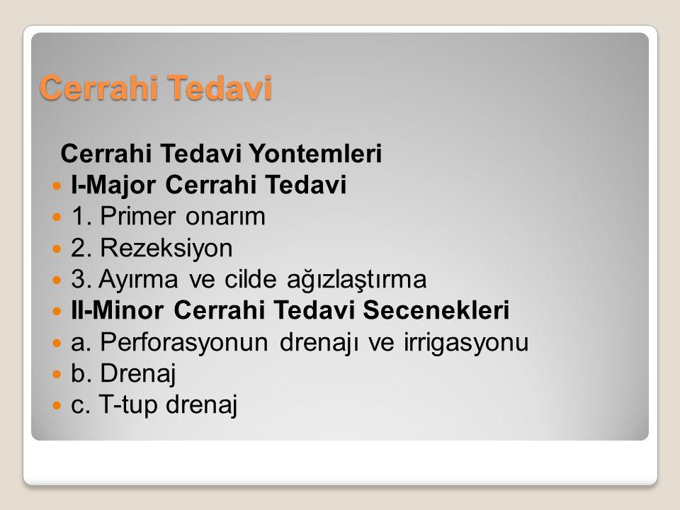 Cerrahi Tedavi Cerrahi Tedavi Yontemleri I-Major Cerrahi Tedavi 1. Primer onarım 2. Rezeksiyon 3. Ayırma ve cilde ağızlaştırma II-Minor Cerrahi Tedavi
