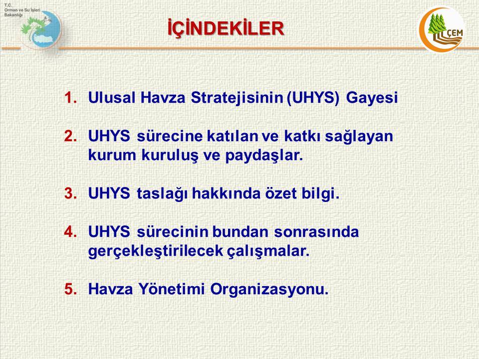 İÇİNDEKİLER 1.Ulusal Havza Stratejisinin (UHYS) Gayesi 2.UHYS sürecine katılan ve katkı sağlayan kurum kuruluş ve paydaşlar. 3.UHYS taslağı hakkında ö