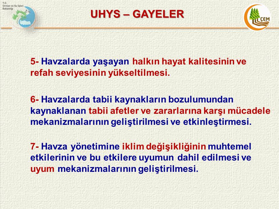 UHYS – GAYELER 5- Havzalarda yaşayan halkın hayat kalitesinin ve refah seviyesinin yükseltilmesi. 6- Havzalarda tabii kaynakların bozulumundan kaynakl