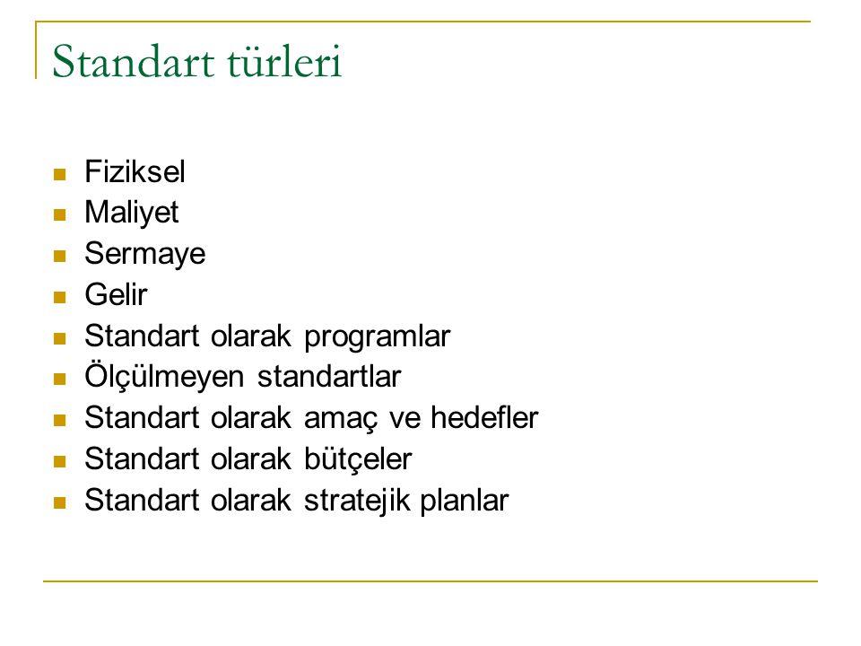 Standart türleri Fiziksel Maliyet Sermaye Gelir Standart olarak programlar Ölçülmeyen standartlar Standart olarak amaç ve hedefler Standart olarak büt