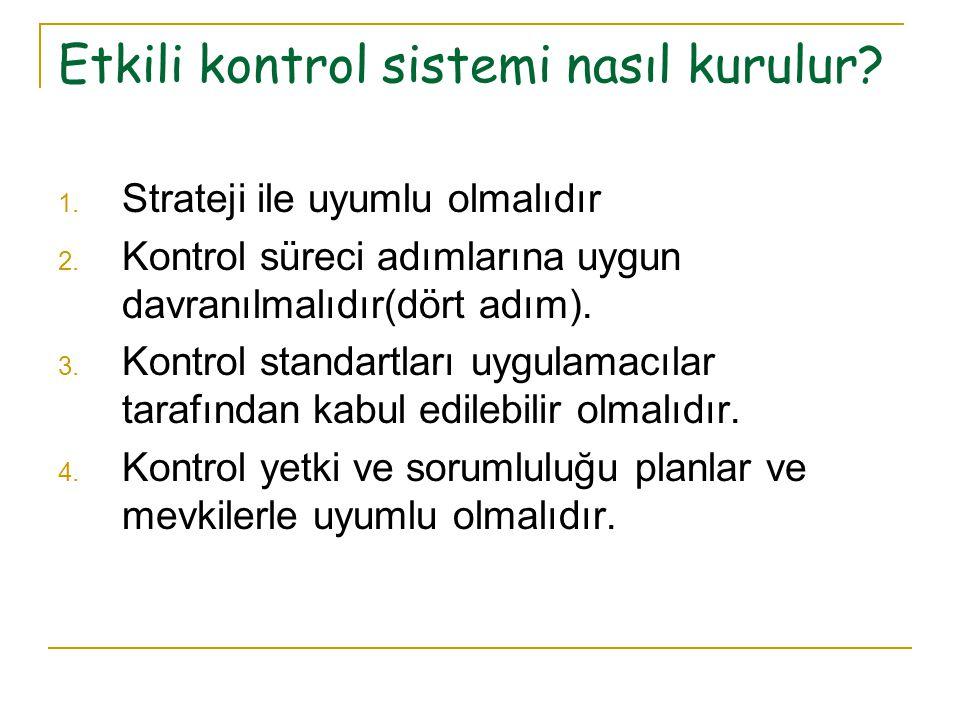 1. Strateji ile uyumlu olmalıdır 2. Kontrol süreci adımlarına uygun davranılmalıdır(dört adım). 3. Kontrol standartları uygulamacılar tarafından kabul