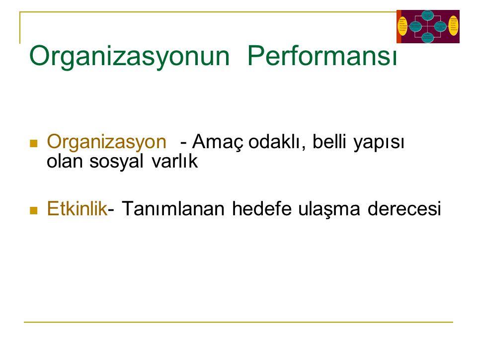 Organizasyonun Performansı Organizasyon - Amaç odaklı, belli yapısı olan sosyal varlık Etkinlik- Tanımlanan hedefe ulaşma derecesi