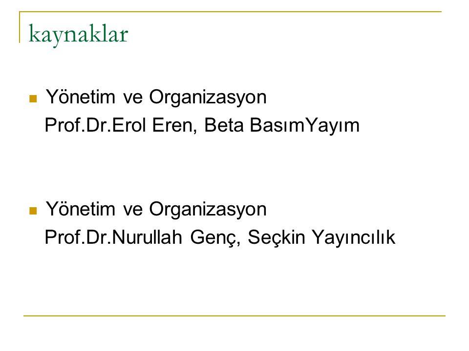 kaynaklar Yönetim ve Organizasyon Prof.Dr.Erol Eren, Beta BasımYayım Yönetim ve Organizasyon Prof.Dr.Nurullah Genç, Seçkin Yayıncılık
