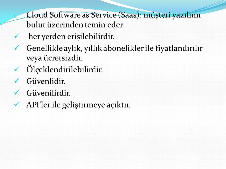 1. Cloud Software as Service (Saas): müşteri yazılımı bulut üzerinden temin eder her yerden erişilebilirdir. Genellikle aylık, yıllık abonelikler ile