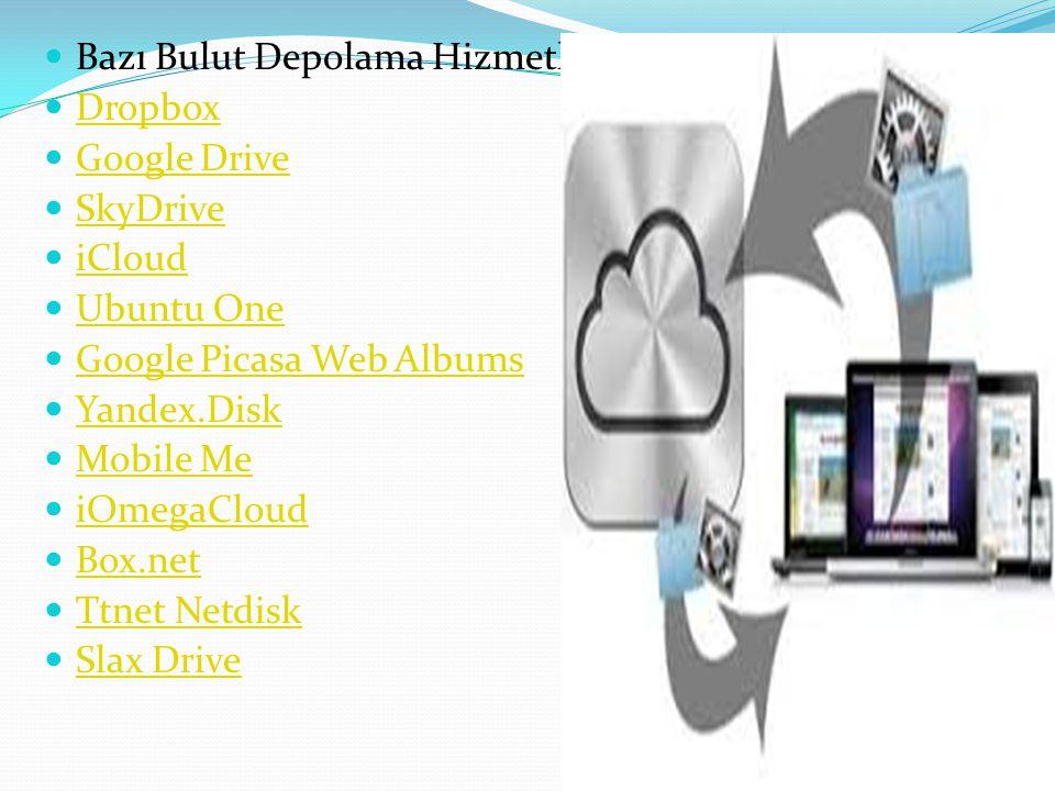 Bazı Bulut Depolama Hizmetleri Dropbox Google Drive SkyDrive iCloud Ubuntu One Google Picasa Web Albums Yandex.Disk Mobile Me iOmegaCloud Box.net Ttne