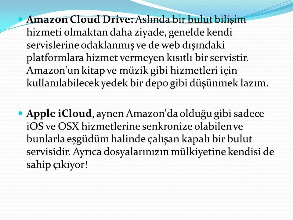 Amazon Cloud Drive: Aslında bir bulut bilişim hizmeti olmaktan daha ziyade, genelde kendi servislerine odaklanmış ve de web dışındaki platformlara hiz