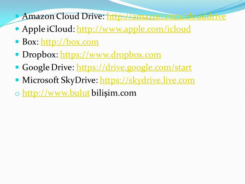 Amazon Cloud Drive: http://amazon.com/clouddrivehttp://amazon.com/clouddrive Apple iCloud: http://www.apple.com/icloudhttp://www.apple.com/icloud Box: