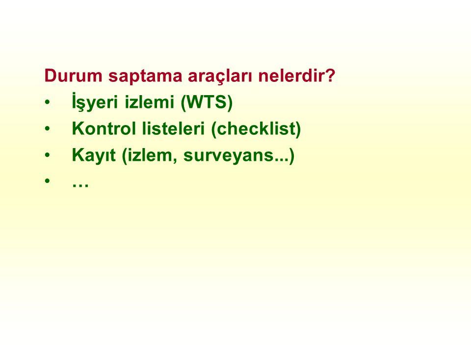 Durum saptama araçları nelerdir? İşyeri izlemi (WTS) Kontrol listeleri (checklist) Kayıt (izlem, surveyans...) …