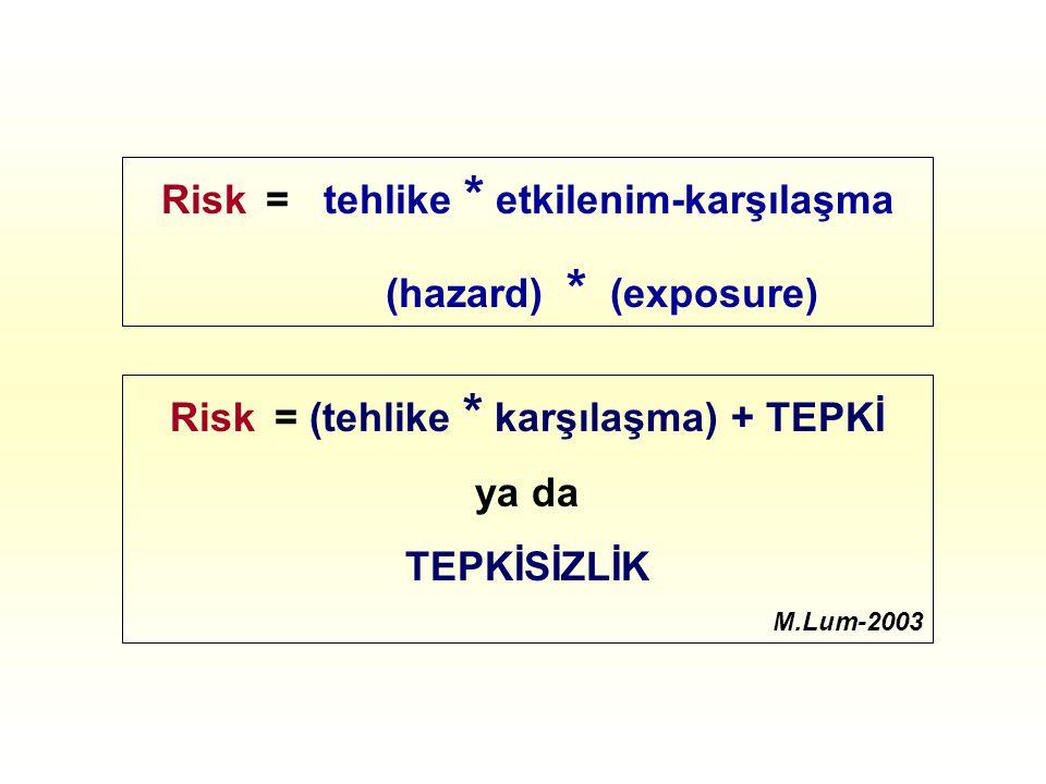 Risk = tehlike * etkilenim-karşılaşma (hazard) * (exposure) Risk = (tehlike * karşılaşma) + TEPKİ ya da TEPKİSİZLİK M.Lum-2003