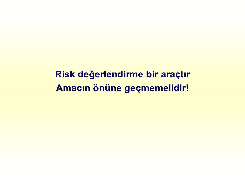 Risk değerlendirme bir araçtır Amacın önüne geçmemelidir!