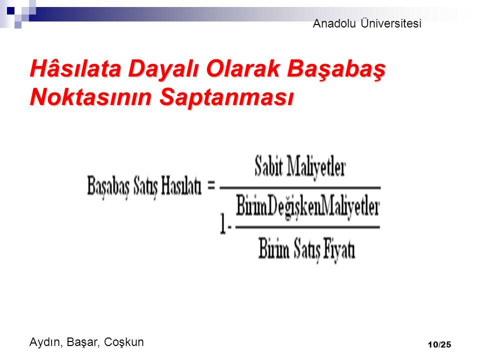 Anadolu Üniversitesi Aydın, Başar, Coşkun 10/25 Hâsılata Dayalı Olarak Başabaş Noktasının Saptanması
