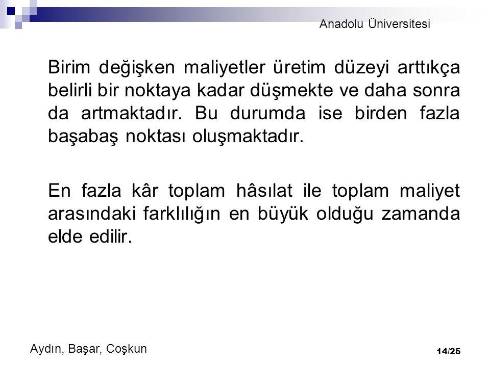 Anadolu Üniversitesi Aydın, Başar, Coşkun 14/25 Birim değişken maliyetler üretim düzeyi arttıkça belirli bir noktaya kadar düşmekte ve daha sonra da artmaktadır.