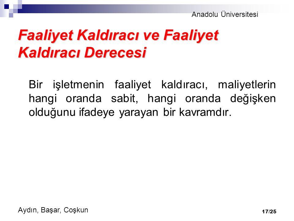 Anadolu Üniversitesi Aydın, Başar, Coşkun 17/25 Faaliyet Kaldıracı ve Faaliyet Kaldıracı Derecesi Bir işletmenin faaliyet kaldıracı, maliyetlerin hangi oranda sabit, hangi oranda değişken olduğunu ifadeye yarayan bir kavramdır.
