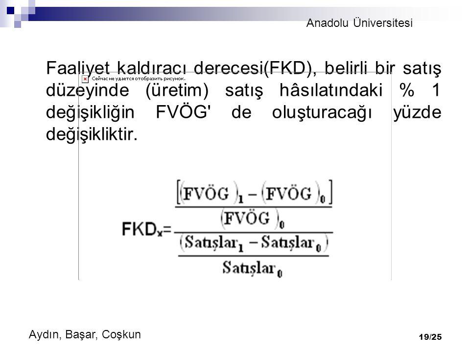 Anadolu Üniversitesi Aydın, Başar, Coşkun 19/25 Faaliyet kaldıracı derecesi(FKD), belirli bir satış düzeyinde (üretim) satış hâsılatındaki % 1 değişikliğin FVÖG de oluşturacağı yüzde değişikliktir.