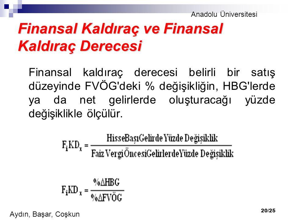 Anadolu Üniversitesi Aydın, Başar, Coşkun 20/25 Finansal Kaldıraç ve Finansal Kaldıraç Derecesi Finansal kaldıraç derecesi belirli bir satış düzeyinde FVÖG deki % değişikliğin, HBG lerde ya da net gelirlerde oluşturacağı yüzde değişiklikle ölçülür.