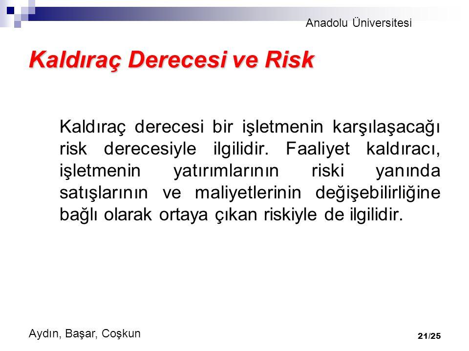 Anadolu Üniversitesi Aydın, Başar, Coşkun 21/25 Kaldıraç Derecesi ve Risk Kaldıraç derecesi bir işletmenin karşılaşacağı risk derecesiyle ilgilidir.