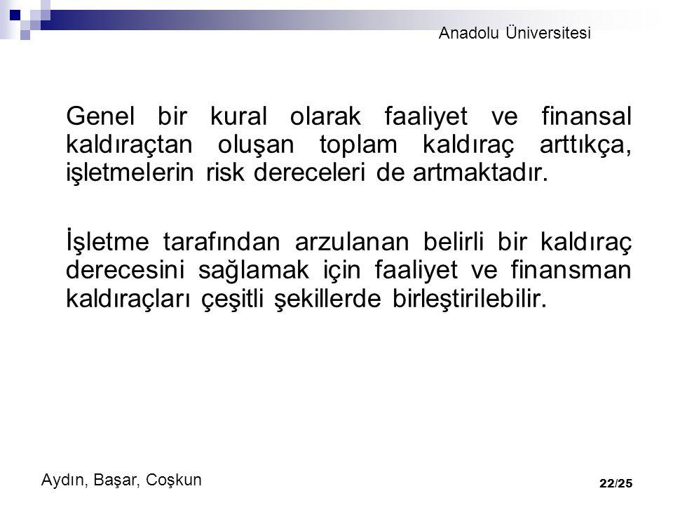 Anadolu Üniversitesi Aydın, Başar, Coşkun 22/25 Genel bir kural olarak faaliyet ve finansal kaldıraçtan oluşan toplam kaldıraç arttıkça, işletmelerin risk dereceleri de artmaktadır.
