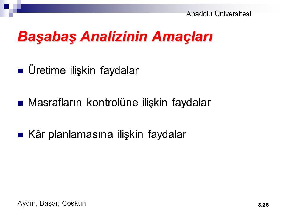 Anadolu Üniversitesi Aydın, Başar, Coşkun 3/25 Başabaş Analizinin Amaçları Üretime ilişkin faydalar Masrafların kontrolüne ilişkin faydalar Kâr planlamasına ilişkin faydalar