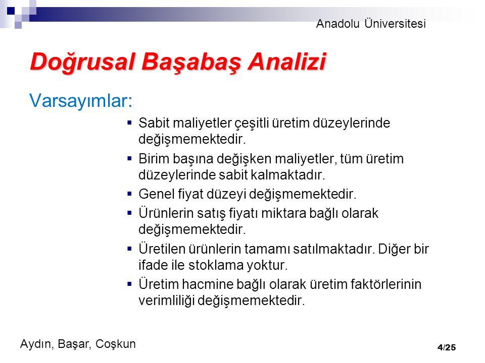Anadolu Üniversitesi Aydın, Başar, Coşkun 4/25 Doğrusal Başabaş Analizi Varsayımlar:  Sabit maliyetler çeşitli üretim düzeylerinde değişmemektedir.
