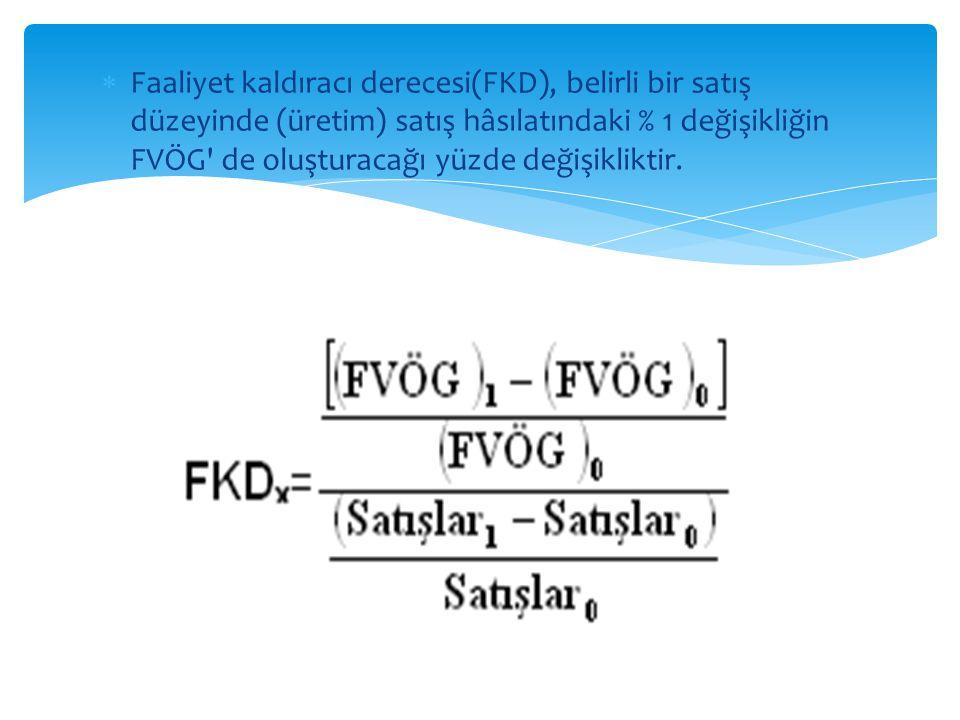  Faaliyet kaldıracı derecesi(FKD), belirli bir satış düzeyinde (üretim) satış hâsılatındaki % 1 değişikliğin FVÖG' de oluşturacağı yüzde değişiklikti
