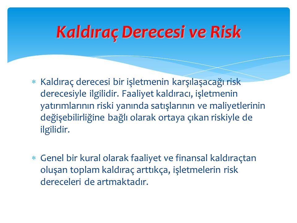  Kaldıraç derecesi bir işletmenin karşılaşacağı risk derecesiyle ilgilidir. Faaliyet kaldıracı, işletmenin yatırımlarının riski yanında satışlarının