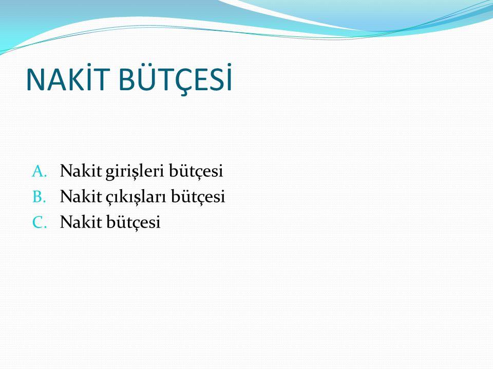 NAKİT BÜTÇESİ A. Nakit girişleri bütçesi B. Nakit çıkışları bütçesi C. Nakit bütçesi