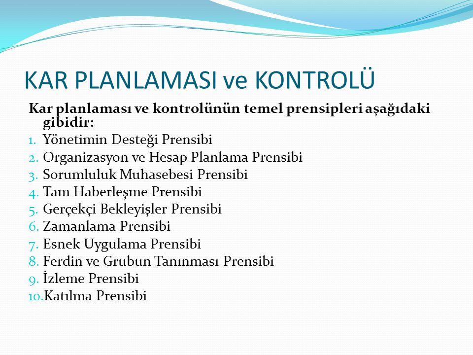 KAR PLANLAMASI ve KONTROLÜ Kar planlaması ve kontrolünün temel prensipleri aşağıdaki gibidir: 1. Yönetimin Desteği Prensibi 2. Organizasyon ve Hesap P