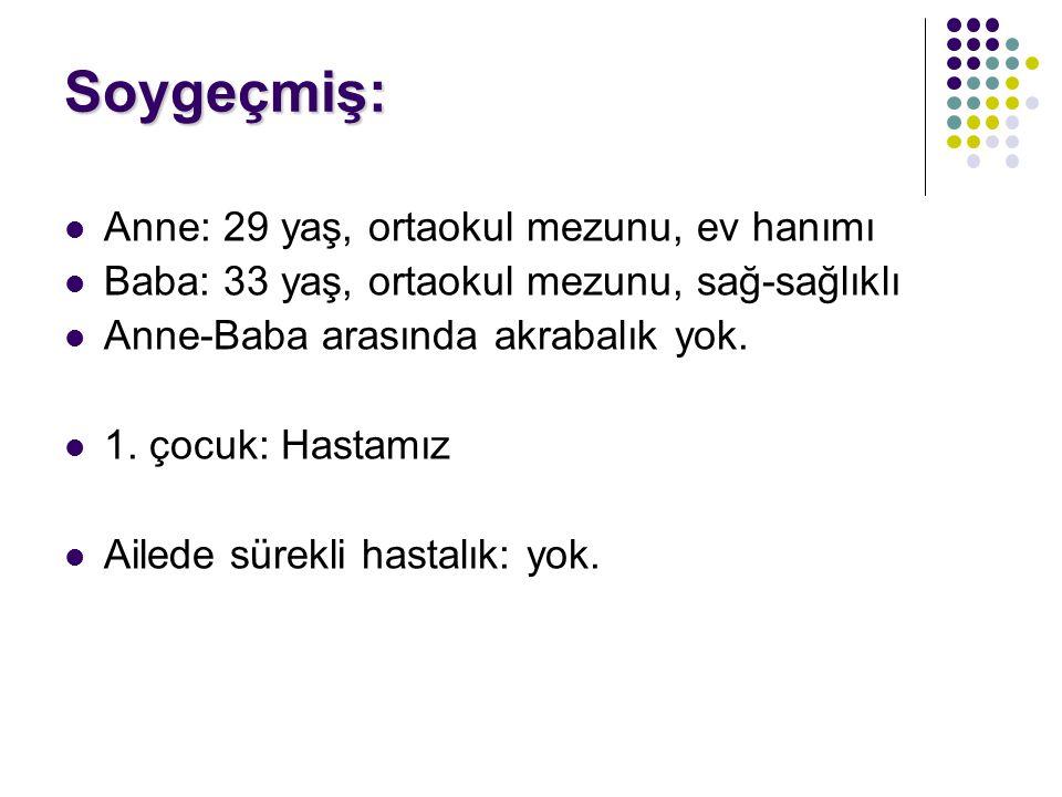 Fizik Muayene: Ateş: 37.3°C Nabız: 68 /dk TA: 90/60 mm Hg SS: 40 /dk SaO2: 90% (Oda havasında) Boy: 89 cm (90p) Kilo: 15 kg (95p)