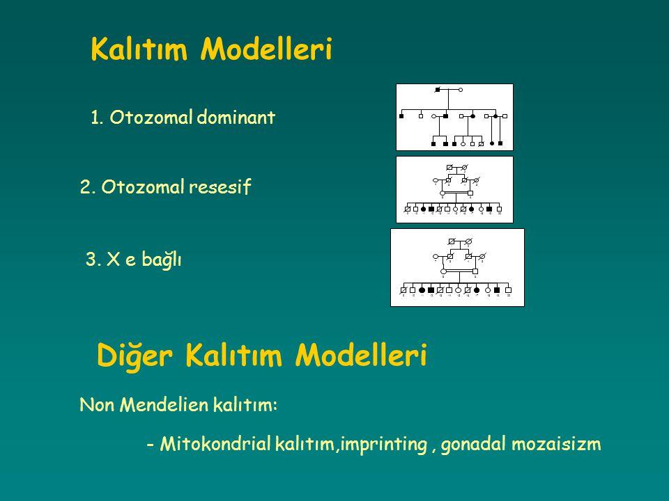 Kalıtım Modelleri 1. Otozomal dominant 12 345 6 7 8 91011121314151617181920 2. Otozomal resesif 12 345 6 7 8 91011121314151617181920 3. X e bağlı Diğe