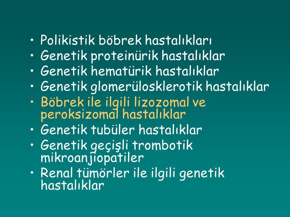Polikistik böbrek hastalıkları Genetik proteinürik hastalıklar Genetik hematürik hastalıklar Genetik glomerülosklerotik hastalıklar Böbrek ile ilgili