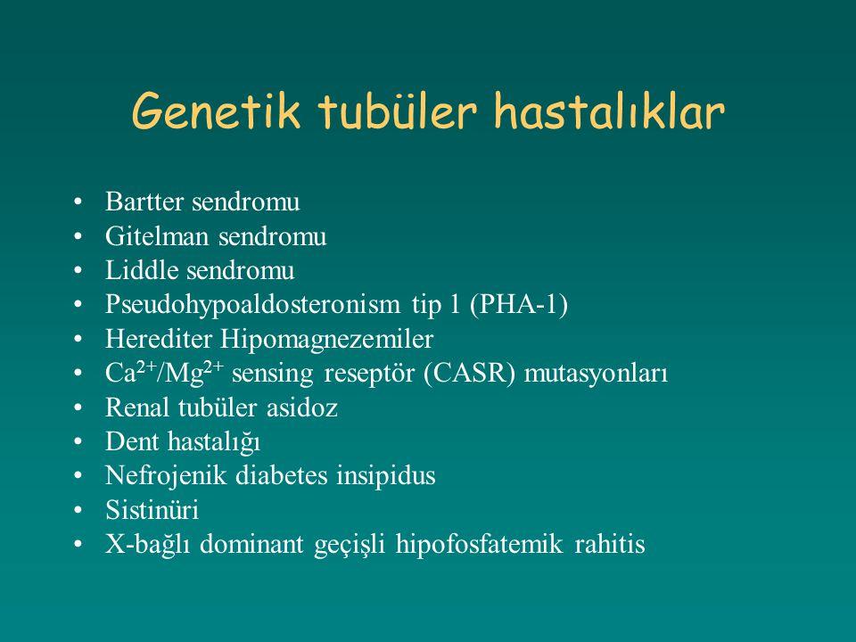 Genetik tubüler hastalıklar Bartter sendromu Gitelman sendromu Liddle sendromu Pseudohypoaldosteronism tip 1 (PHA-1) Herediter Hipomagnezemiler Ca 2+